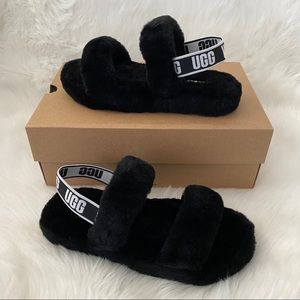 New UGG Oh Yeah Sandals Black Youth Size 5 & 6